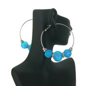 Big Mesh Ball Cz Basketball Wives Earrings Blue
