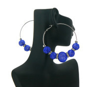 Big Mesh Ball Cz Basketball Wives Earrings Deep Blue