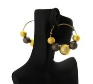 Big Mesh Ball Basketball Wives Earrings Metallic / Gold