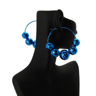 Disco Ball Style Basketball Wives Earrings Metallic Blue