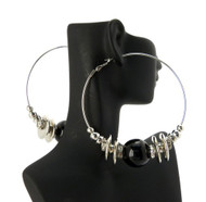 Cz Rhodium Silver Black Bead Basketball Wives Earrings