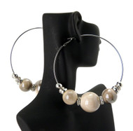 Cz Rhodium Silver 3 Cream Beads Basketball Wives Earrings