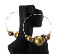 Cz Gold 3 Beads Basketball Wives Earrings