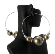 Cz 3 Beads Basketball Wives Earrings Silver