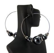 Cz Black Hematite 3 Black Beads Basketball Wives Earrings