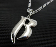 "Ruff Ryders Hip Hop ""R"" Pendant w/ 24"" Figaro Chain Silver"