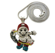 Men's Iced Out Cz Super Mario Pendant Silver