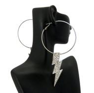 Poparazzi Lightning Bolt BBW Earrings Silver