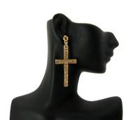 Ladies Cz Stone Cross Earrings Gold