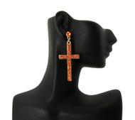 Ladies Cz Stone Cross Earrings Gold Orange