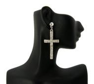 Ladies Cz Stone Cross Earrings Silver