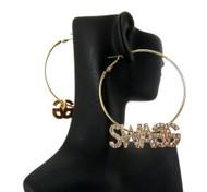 Ladies Cz Swag Earrings Gold