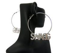 Ladies Cz Swag Earrings Silver