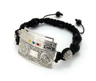 Black Glass Disco Ball CZ Silver Boom Box Bracelet