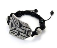 Black Glass Disco Ball CZ Silver Transformers Bracelet