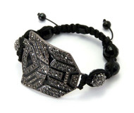 Black Glass Disco Ball CZ Hematite Transformers Bracelet