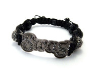 Simulated Diamond Glass Disco Ball Hematite Swag Bracelet
