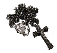 All Black Hematite Rosary Chain Log Cross Pendant