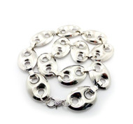 Old School G- Link Style Hip Hop Chain Necklace Silver