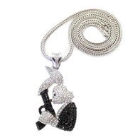 Hip Hop Exotic Stone Bugs Bunny Gun Pendent & Chain Silver
