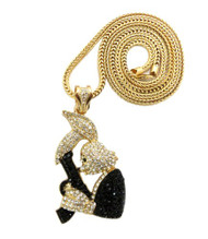 Hip Hop Exotic Stone Bugs Bunny Gun Pendent & Chain Gold