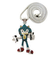 Iced Out Exotic Stone Sonic Pendent & Chain Silver
