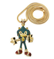 Iced Out Exotic Stone Sonic Pendent & Chain Gold