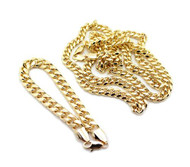 Miami Cuban Link Chain Necklace & Bracelet Set Gold