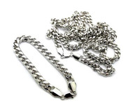 Miami Cuban Link Chain Necklace & Bracelet Set Silver