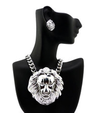 Rihanna Inspired Silver Lion Head Pendant w/ Earrings Set