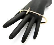 Womens Gold Cz Cross Kuckle Ring