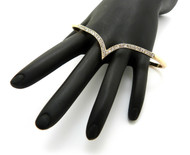 Womens Chevron Pattern Gold Knuckle Rings