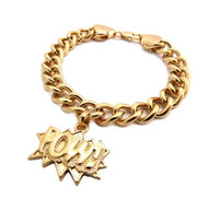 Chris Brown Big Sean Style POW Gold Bracelet