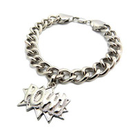 Chris Brown Big Sean Style POW Silver Bracelet