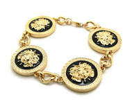 Black Enameled Medusa Snakes Celebrity Style Hip Hop Gold Bracelet