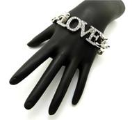 Ladies Cz Rhodium Silver Love Bracelet