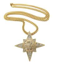 Mens Allah 7 Star Diamond Cz Bling Pendant Cuban Chain Gold