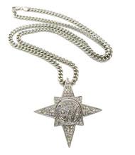 Mens Allah 7 Star Silver Bling Pendant Cuban Chain Silver