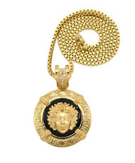 Medusa Pendant w/ Box Chain Necklace 14k Gold