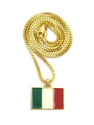 14k Gold Italy Italian Flag Pendant Box Chain