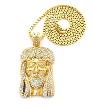 Mens CZ Iced Out Jesus Piece Pendant w / Box Link Chain Gold
