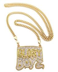 Iced Out CZ Glory Boyz Hip Hop Pendant Chain Gold