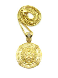 Iced Out Medusa Illuminati Medallion Pendant Box Link Chain