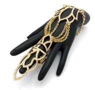 Women's Bling Hot Sexy Queen Crown Stretch Ring Bracelet Gold