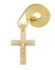 Mens Diamond Cz Jesus Flat Log Cross Chain & Pendant