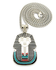 King Tut Cz Enameled Pharaoh Pendant & Chain Silver