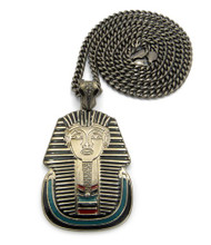 King Tut Cz Enameled Pharaoh Pendant & Chain Black
