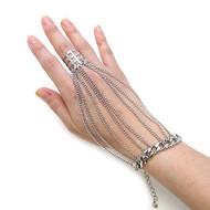 Ladies Celebrity Fashion Cage Ring Bracelet Set Silver