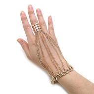 Ladies Celebrity Fashion Cage Ring Bracelet Set Gold