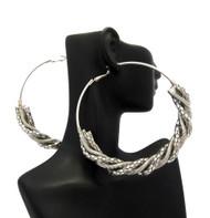 Ladies Half Spiral Big Hoop Earrings Silver